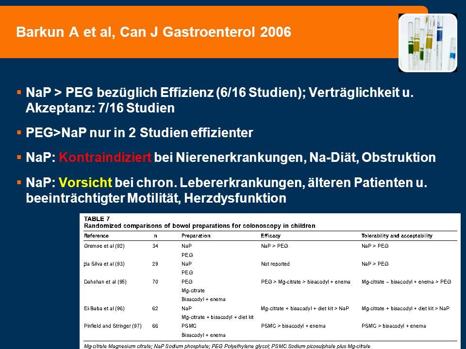 NaP > PEG bezüglich Effizienz (6/16 Studien); Verträglichkeit u. Akzeptanz: 7/16 Studien PEG>NaP nur in 2 Studien effizienter NaP: Kontraindiziert bei