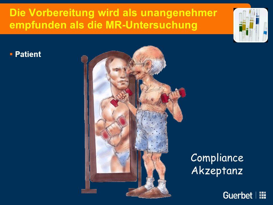 Die Vorbereitung wird als unangenehmer empfunden als die MR-Untersuchung Patient Compliance Akzeptanz