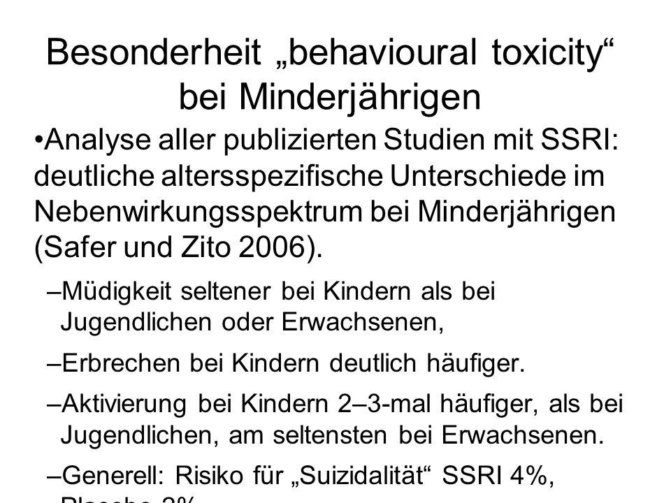 Besonderheit behavioural toxicity bei Minderjährigen Analyse aller publizierten Studien mit SSRI: deutliche altersspezifische Unterschiede im Nebenwir