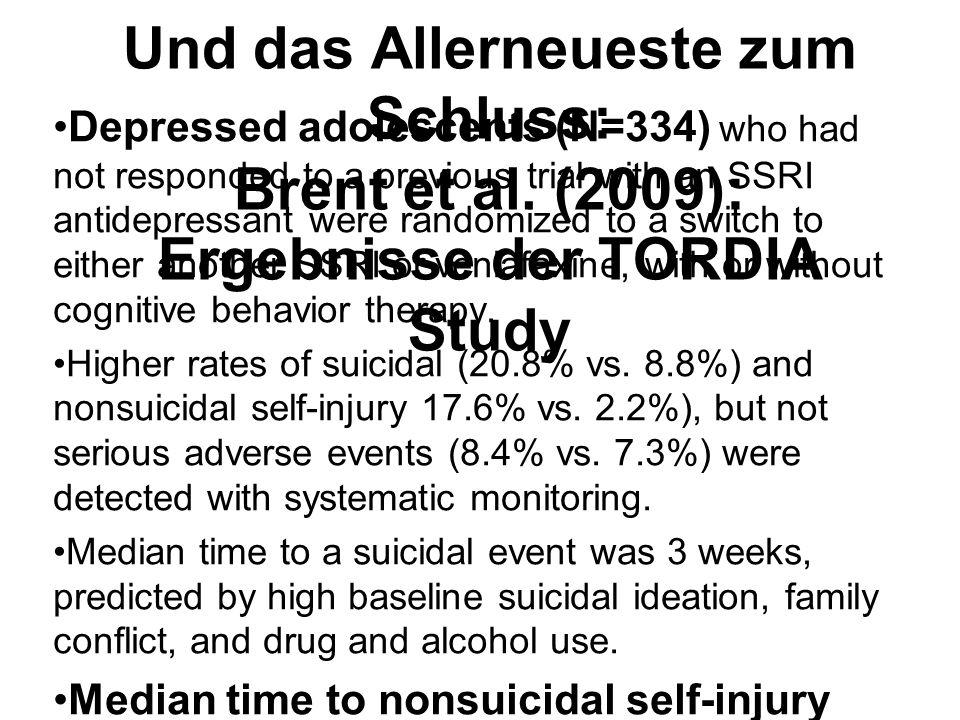 Und das Allerneueste zum Schluss: Brent et al. (2009): Ergebnisse der TORDIA Study Depressed adolescents (N=334) who had not responded to a previous t