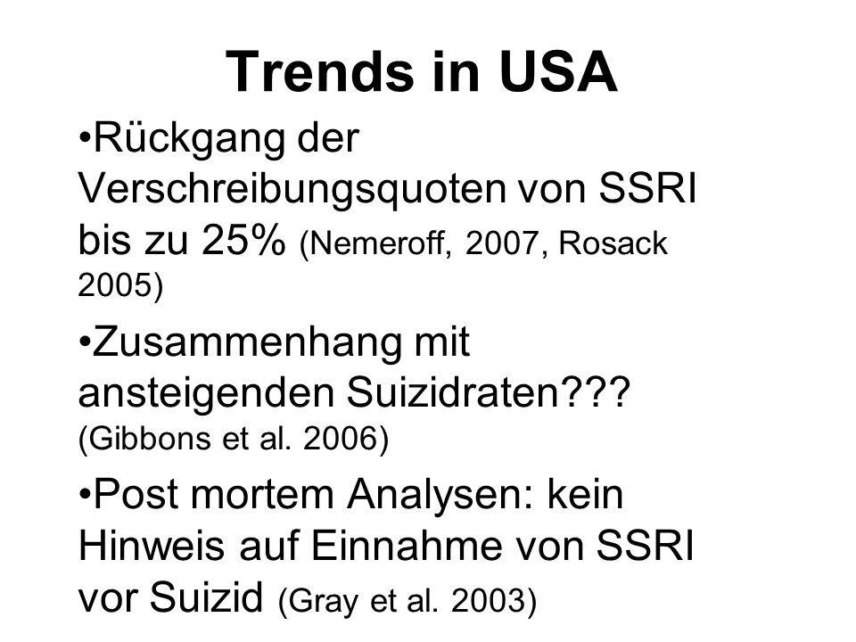 Trends in USA Rückgang der Verschreibungsquoten von SSRI bis zu 25% (Nemeroff, 2007, Rosack 2005) Zusammenhang mit ansteigenden Suizidraten??? (Gibbon