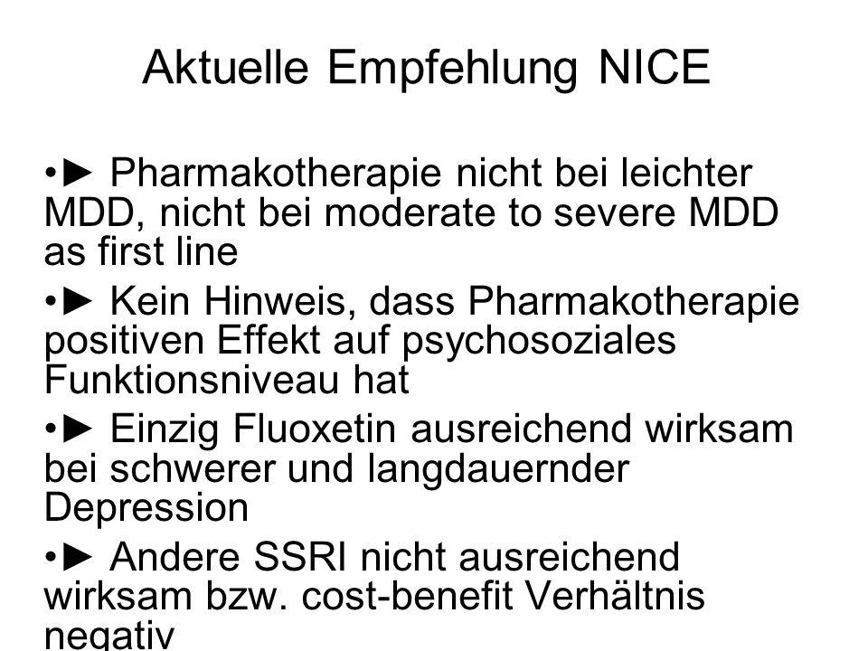 Aktuelle Empfehlung NICE Pharmakotherapie nicht bei leichter MDD, nicht bei moderate to severe MDD as first line Kein Hinweis, dass Pharmakotherapie p