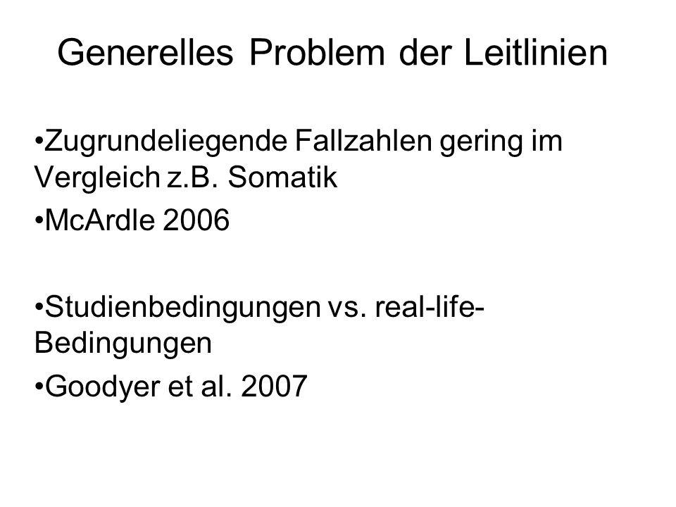 Generelles Problem der Leitlinien Zugrundeliegende Fallzahlen gering im Vergleich z.B. Somatik McArdle 2006 Studienbedingungen vs. real-life- Bedingun