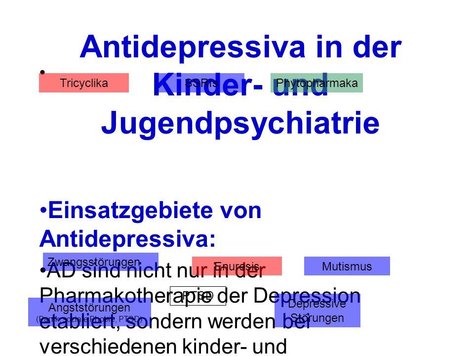 Antidepressiva in der Kinder- und Jugendpsychiatrie Einsatzgebiete von Antidepressiva: AD sind nicht nur in der Pharmakotherapie der Depression etabli