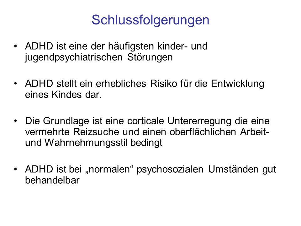 Schlussfolgerungen ADHD ist eine der häufigsten kinder- und jugendpsychiatrischen Störungen ADHD stellt ein erhebliches Risiko für die Entwicklung ein