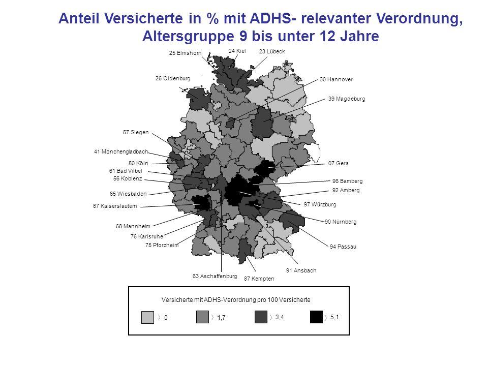 0 1,7 3,4 5,1 Versicherte mit ADHS-Verordnung pro 100 Versicherte 23 Lübeck 24 Kiel 50 Köln 41 Mönchengladbach 56 Koblenz 67 Kaiserslautern 68 Mannhei