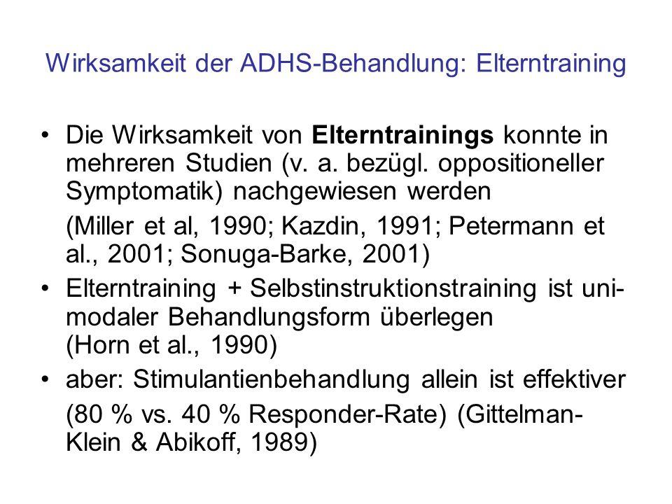 Wirksamkeit der ADHS-Behandlung: Elterntraining Die Wirksamkeit von Elterntrainings konnte in mehreren Studien (v. a. bezügl. oppositioneller Symptoma