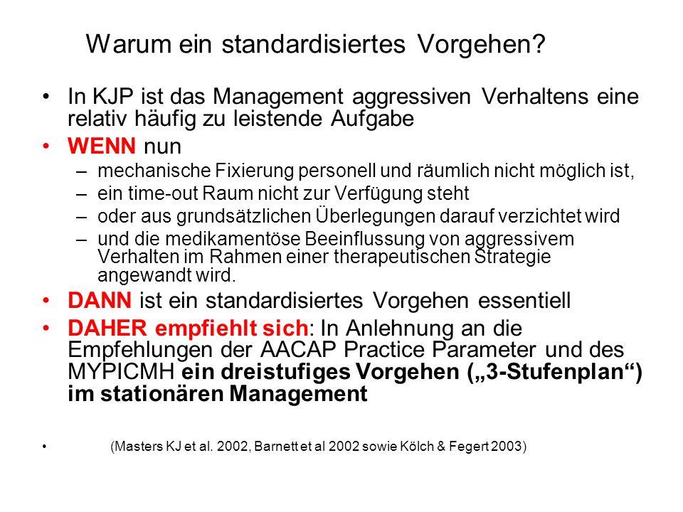 Warum ein standardisiertes Vorgehen? In KJP ist das Management aggressiven Verhaltens eine relativ häufig zu leistende Aufgabe WENN nun –mechanische F