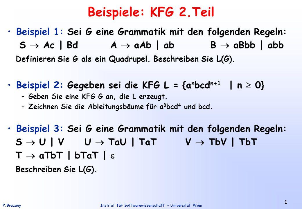 Institut für Softwarewissenschaft – Universität WienP.Brezany 2 Beispiel 4: Sei G eine Grammatik mit den folgenden Regeln: S T + S | T - S | T T T * T | T / T | ( S ) | x | y | z Beschreiben Sie L(G).