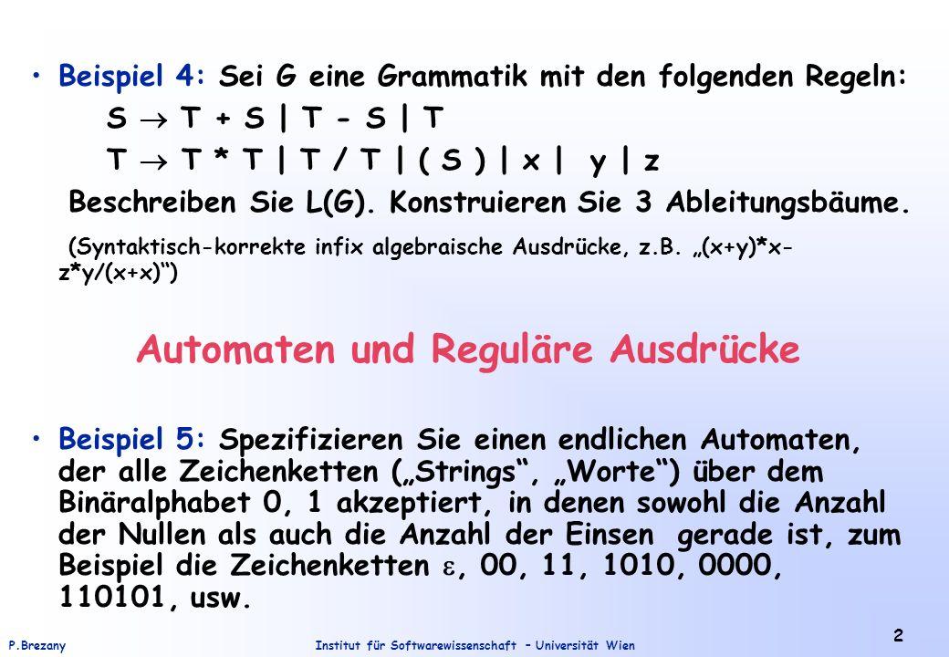 Institut für Softwarewissenschaft – Universität WienP.Brezany 2 Beispiel 4: Sei G eine Grammatik mit den folgenden Regeln: S T + S | T - S | T T T * T