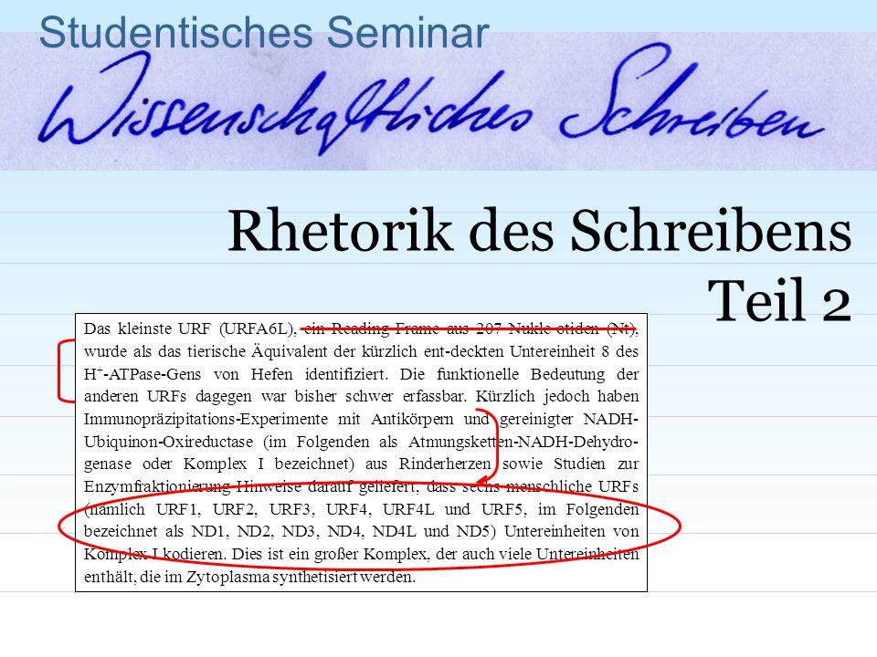 Studentisches Seminar Rhetorik des Schreibens Teil 2 Das kleinste URF (URFA6L), ein Reading Frame aus 207 Nukle-otiden (Nt), wurde als das tierische Ä
