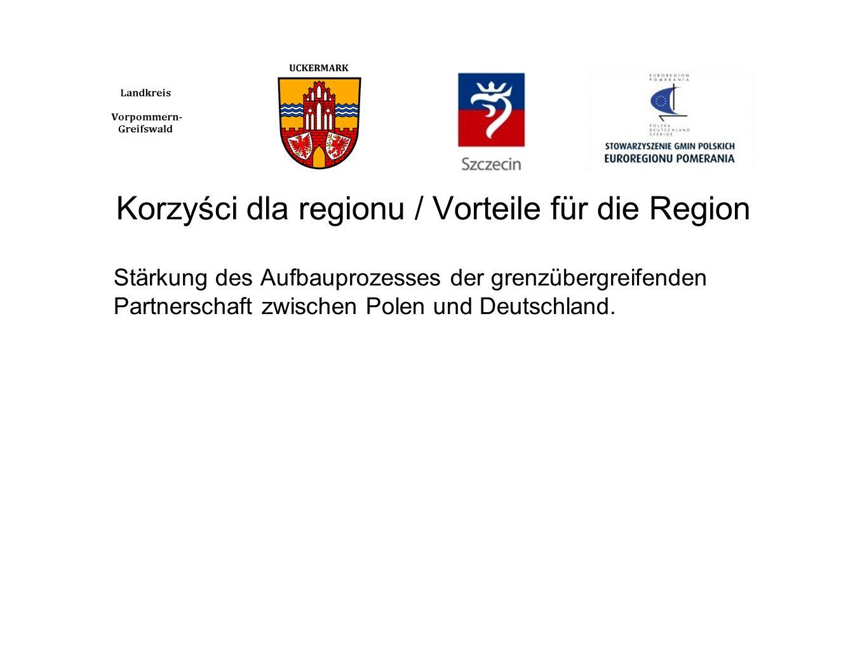 Korzyści dla regionu / Vorteile für die Region Stärkung des Aufbauprozesses der grenzübergreifenden Partnerschaft zwischen Polen und Deutschland.