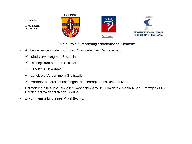 Für die Projektumsetzung erforderlichen Elemente Aufbau einer regionalen und grenzübergreifenden Partnerschaft Stadtverwaltung von Szczecin, Bildungsk