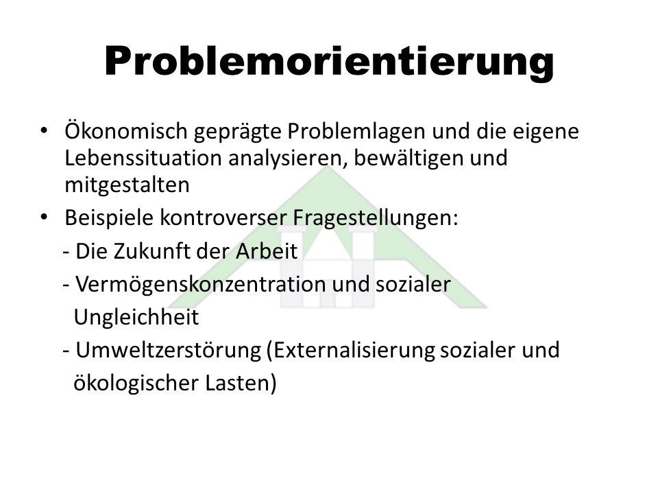 Problemorientierung Ökonomisch geprägte Problemlagen und die eigene Lebenssituation analysieren, bewältigen und mitgestalten Beispiele kontroverser Fr