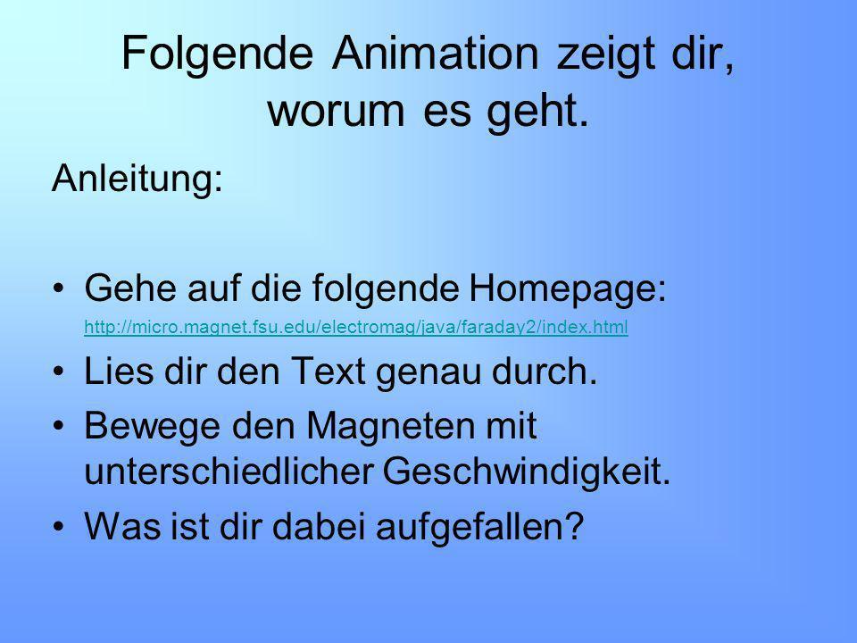 Folgende Animation zeigt dir, worum es geht. Anleitung: Gehe auf die folgende Homepage: http://micro.magnet.fsu.edu/electromag/java/faraday2/index.htm
