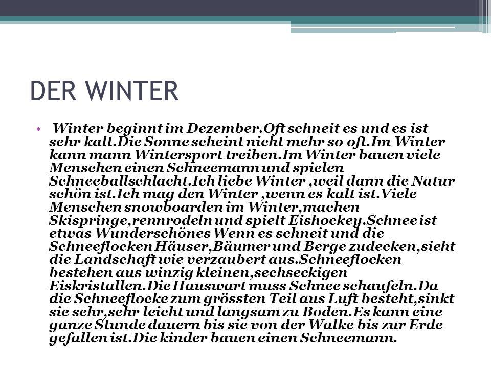 DER WINTER Winter beginnt im Dezember.Oft schneit es und es ist sehr kalt.Die Sonne scheint nicht mehr so oft.Im Winter kann mann Wintersport treiben.