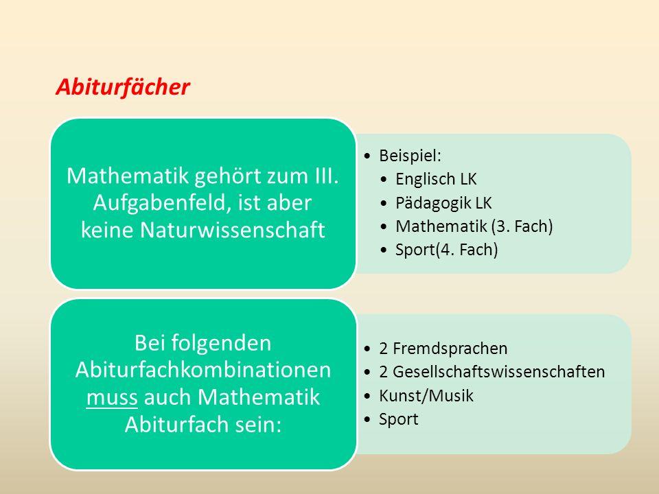 Abiturfächer Beispiel: Englisch LK Pädagogik LK Mathematik (3.