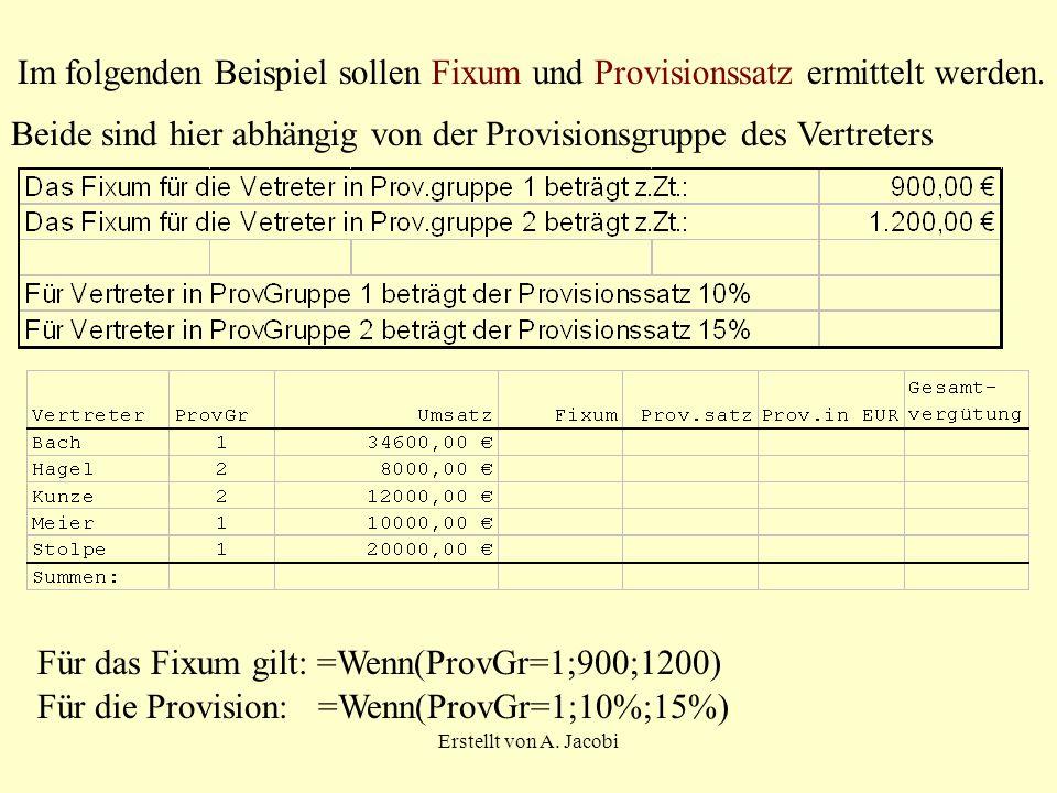 Erstellt von A. Jacobi Im folgenden Beispiel sollen Fixum und Provisionssatz ermittelt werden. Beide sind hier abhängig von der Provisionsgruppe des V