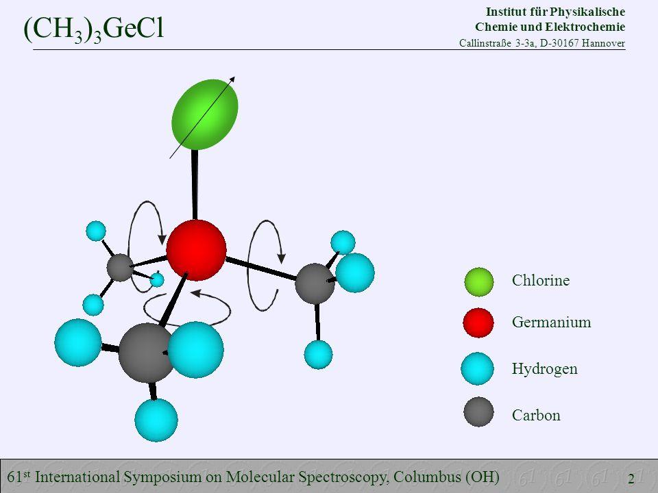 (CH 3 ) 3 GeCl 61 st International Symposium on Molecular Spectroscopy, Columbus (OH) Chlorine Germanium Hydrogen Carbon 2 Institut für Physikalische