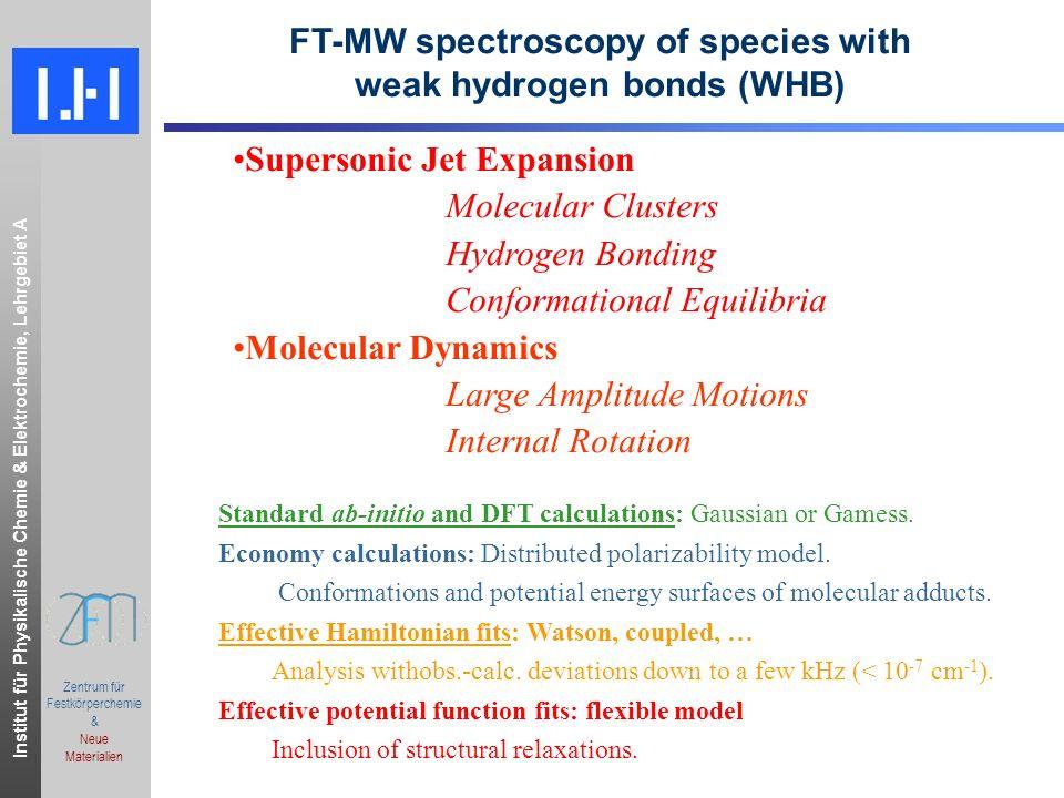 Institut für Physikalische Chemie & Elektrochemie, Lehrgebiet A.ppt Zentrum für Festkörperchemie & Neue Materialien Bologna supersonic jet FT-MW Spectrometer: