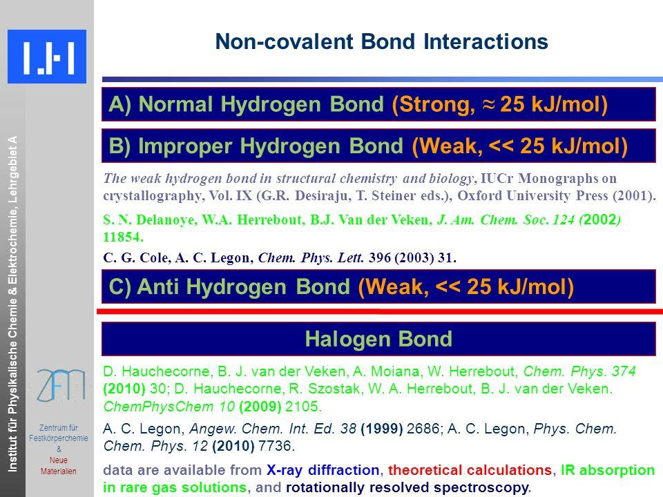 Institut für Physikalische Chemie & Elektrochemie, Lehrgebiet A.ppt Zentrum für Festkörperchemie & Neue Materialien Non-covalent Bond Interactions A) Normal Hydrogen Bond (Strong, 25 kJ/mol) B) Improper Hydrogen Bond (Weak, << 25 kJ/mol) C) Anti Hydrogen Bond (Weak, << 25 kJ/mol) The weak hydrogen bond in structural chemistry and biology, IUCr Monographs on crystallography, Vol.