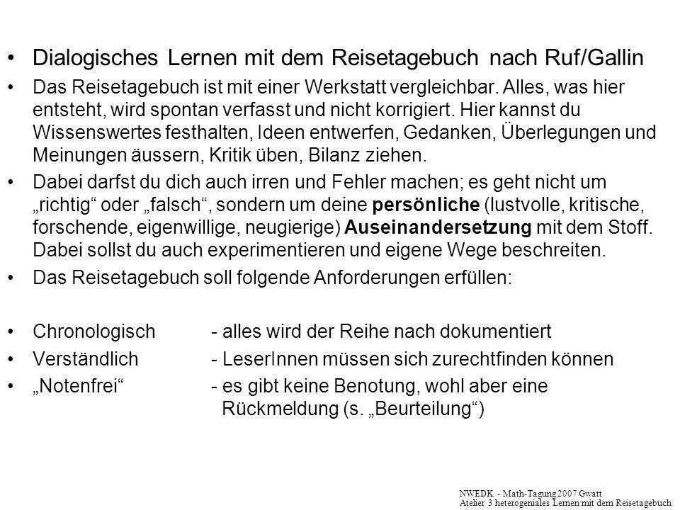 Dialogisches Lernen mit dem Reisetagebuch nach Ruf/Gallin Das Reisetagebuch ist mit einer Werkstatt vergleichbar. Alles, was hier entsteht, wird spont