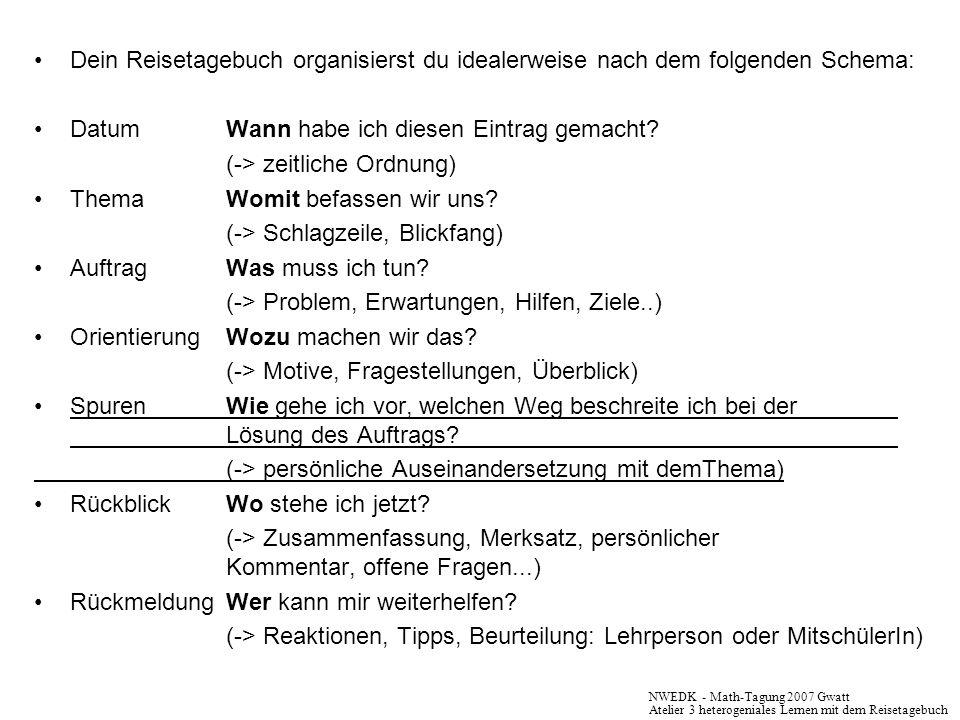 Dein Reisetagebuch organisierst du idealerweise nach dem folgenden Schema: DatumWann habe ich diesen Eintrag gemacht? (-> zeitliche Ordnung) ThemaWomi