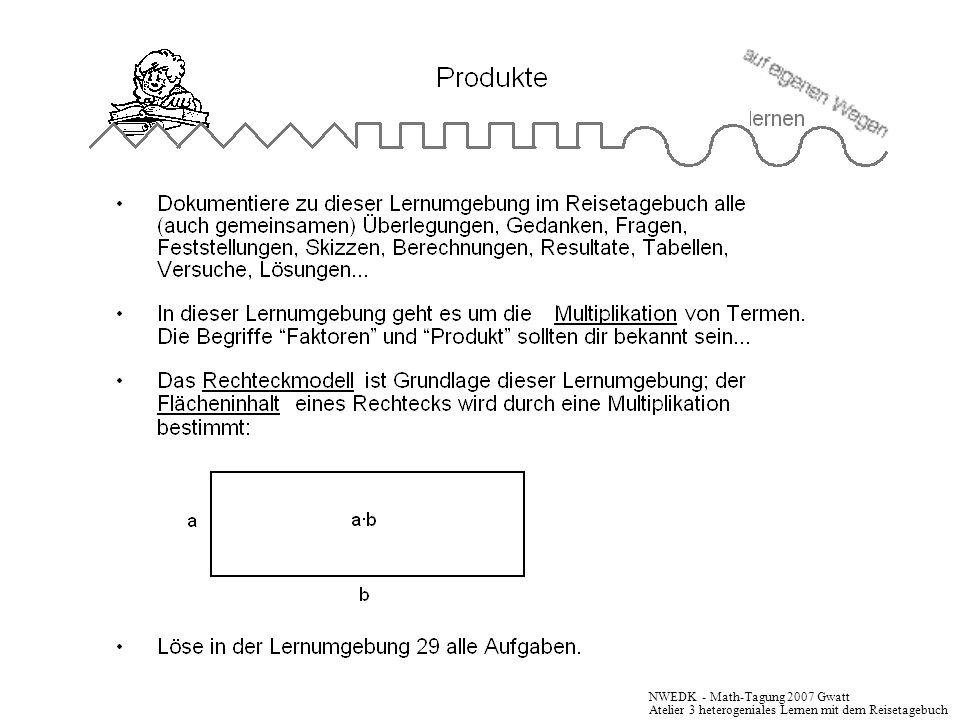 NWEDK - Math-Tagung 2007 Gwatt Atelier 3 heterogeniales Lernen mit dem Reisetagebuch