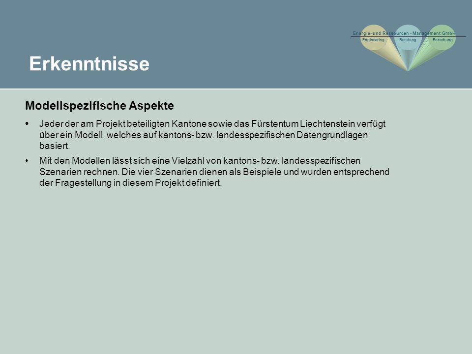 Erkenntnisse Modellspezifische Aspekte Jeder der am Projekt beteiligten Kantone sowie das Fürstentum Liechtenstein verfügt über ein Modell, welches au