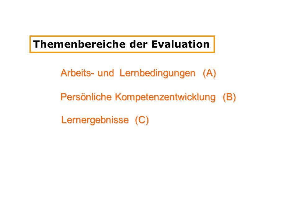 Arbeits- und Lernbedingungen (A) Persönliche Kompetenzentwicklung (B) Lernergebnisse (C) Themenbereiche der Evaluation