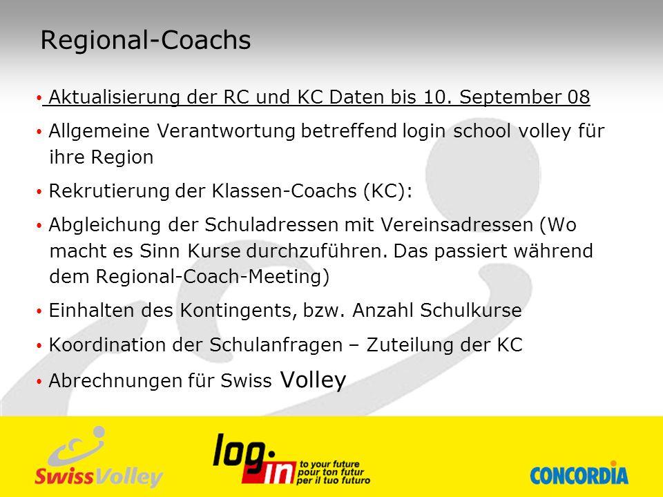Regional-Coachs Aktualisierung der RC und KC Daten bis 10. September 08 Allgemeine Verantwortung betreffend login school volley für ihre Region Rekrut