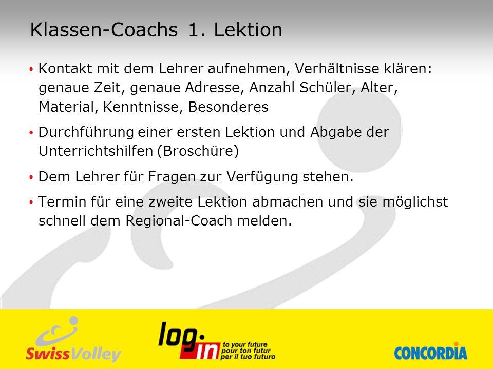 Klassen-Coachs 1. Lektion Kontakt mit dem Lehrer aufnehmen, Verhältnisse klären: genaue Zeit, genaue Adresse, Anzahl Schüler, Alter, Material, Kenntni