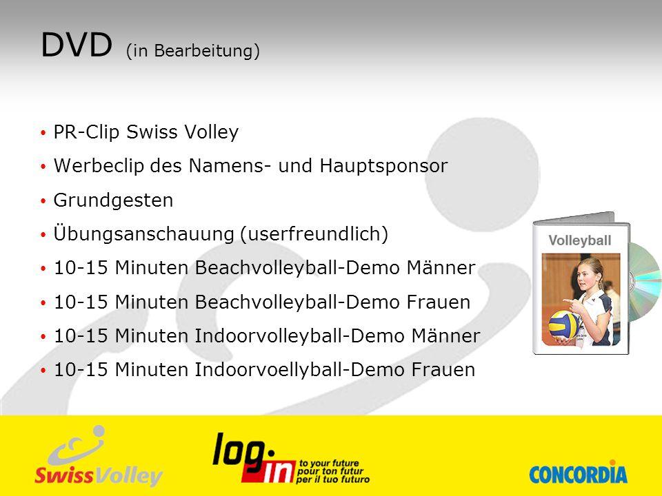 DVD (in Bearbeitung) PR-Clip Swiss Volley Werbeclip des Namens- und Hauptsponsor Grundgesten Übungsanschauung (userfreundlich) 10-15 Minuten Beachvoll
