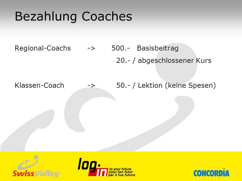 Bezahlung Coaches Regional-Coachs->500.- Basisbeitrag 20.- / abgeschlossener Kurs Klassen-Coach -> 50.- / Lektion (keine Spesen)