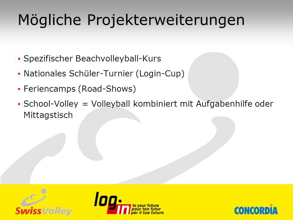 Mögliche Projekterweiterungen Spezifischer Beachvolleyball-Kurs Nationales Schüler-Turnier (Login-Cup) Feriencamps (Road-Shows) School-Volley = Volley