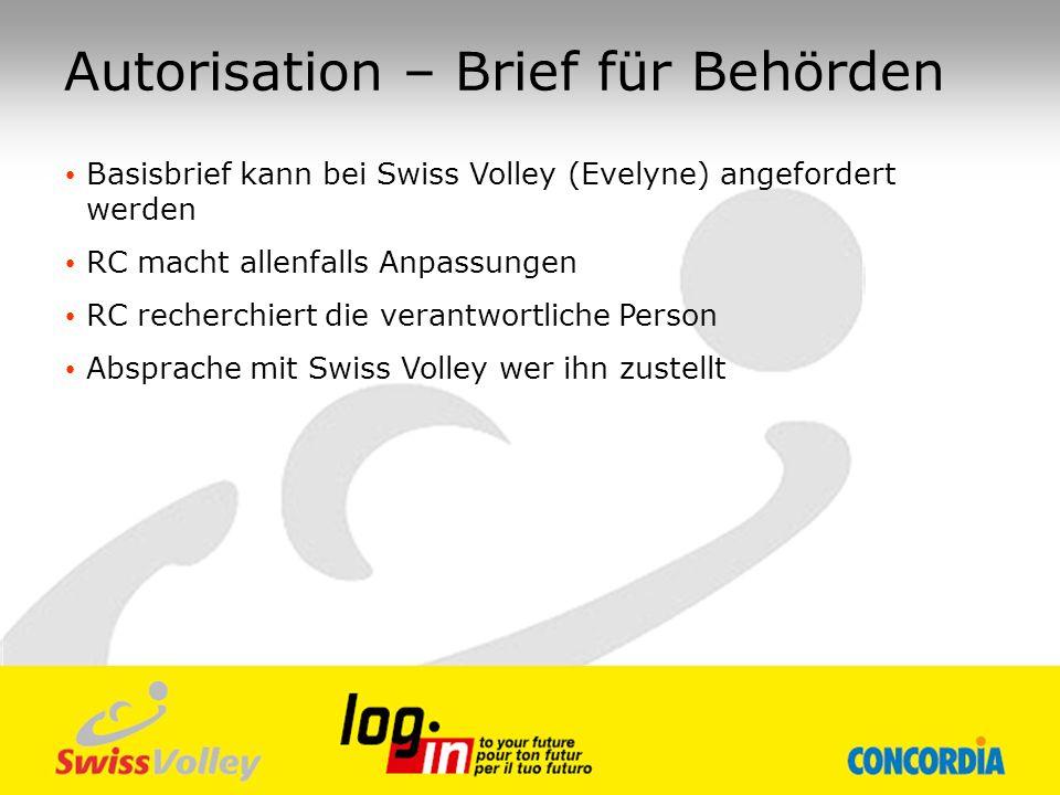 Basisbrief kann bei Swiss Volley (Evelyne) angefordert werden RC macht allenfalls Anpassungen RC recherchiert die verantwortliche Person Absprache mit