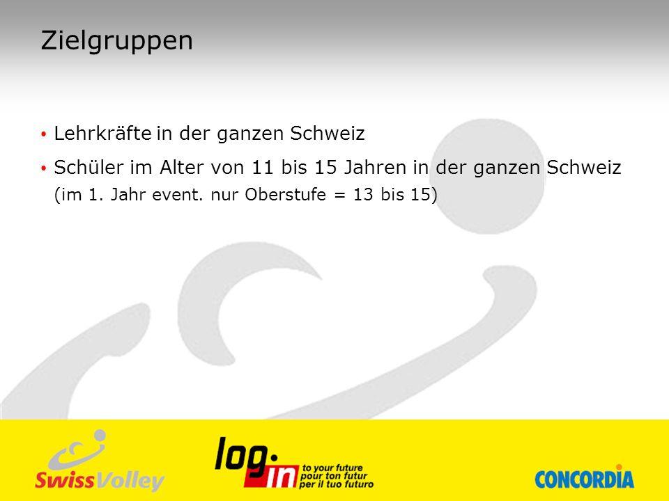 Zielgruppen Lehrkräfte in der ganzen Schweiz Schüler im Alter von 11 bis 15 Jahren in der ganzen Schweiz (im 1. Jahr event. nur Oberstufe = 13 bis 15)