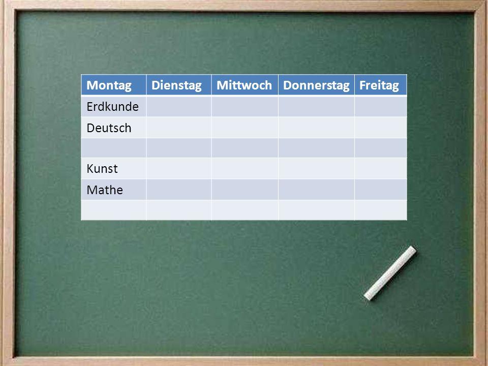 MontagDienstagMittwochDonnerstagFreitag Erdkunde Deutsch Kunst Mathe