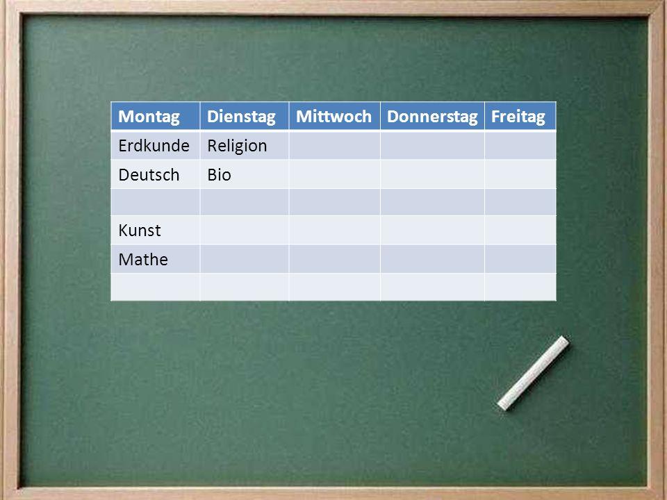 MontagDienstagMittwochDonnerstagFreitag ErdkundeReligion DeutschBio Kunst Mathe