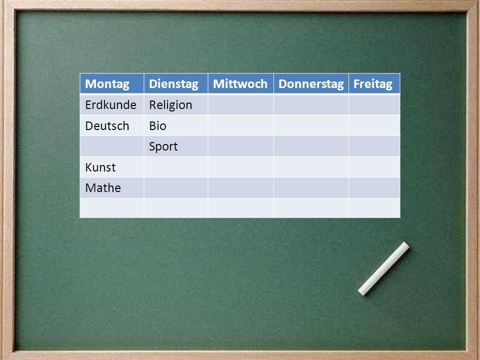 MontagDienstagMittwochDonnerstagFreitag ErdkundeReligion DeutschBio Sport Kunst Mathe