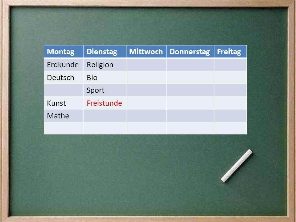 MontagDienstagMittwochDonnerstagFreitag ErdkundeReligion DeutschBio Sport KunstFreistunde Mathe
