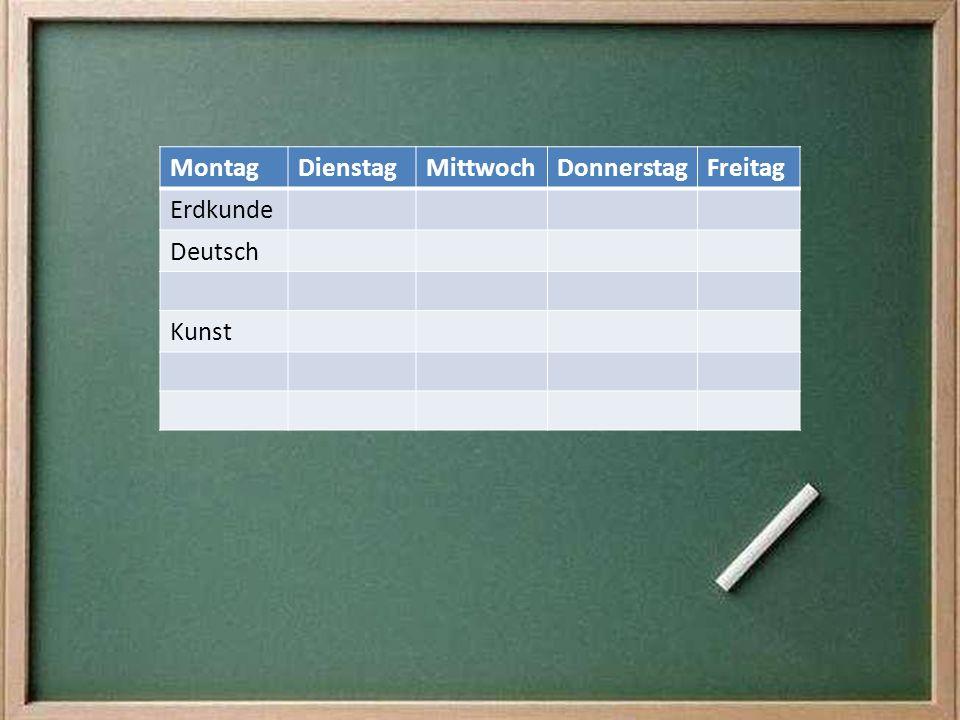 MontagDienstagMittwochDonnerstagFreitag ErdkundeReligion DeutschBio Sport Kunst MatheEnglisch Geschichte