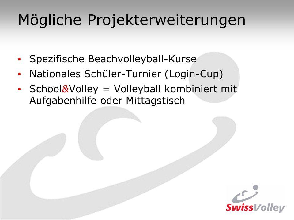 Mögliche Projekterweiterungen Spezifische Beachvolleyball-Kurse Nationales Schüler-Turnier (Login-Cup) School&Volley = Volleyball kombiniert mit Aufga