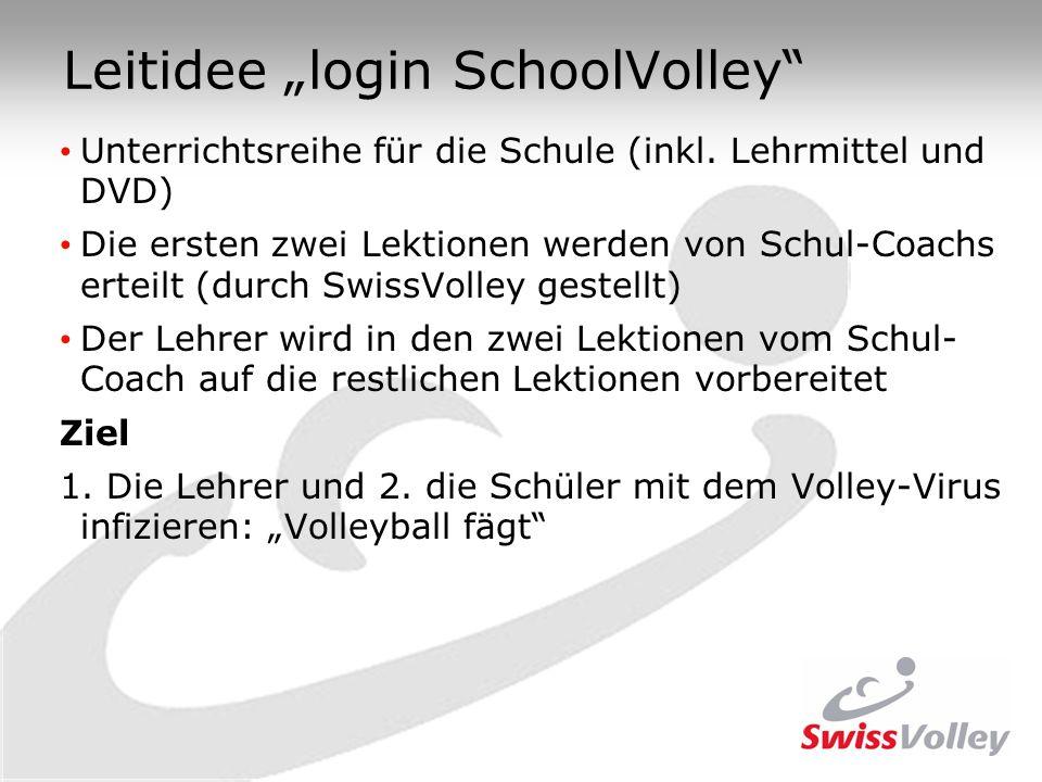 Leitidee login SchoolVolley Unterrichtsreihe für die Schule (inkl. Lehrmittel und DVD) Die ersten zwei Lektionen werden von Schul-Coachs erteilt (durc