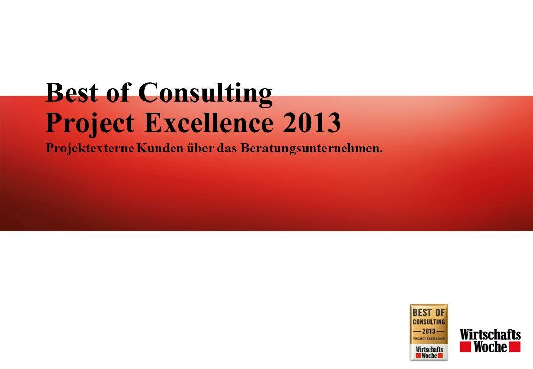 Best of Consulting Project Excellence 2013 Projektexterne Kunden über das Beratungsunternehmen.