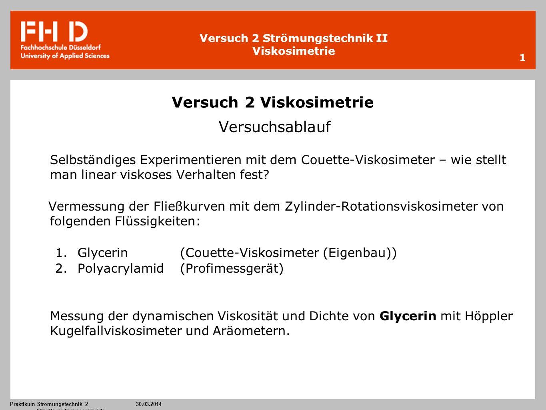 Versuch 2 Strömungstechnik II Viskosimetrie Praktikum Strömungstechnik 2 30.03.2014 http://ifs.mv.fh-duesseldorf.de 1 Versuch 2 Viskosimetrie Versuchs