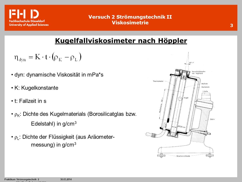 Versuch 2 Strömungstechnik II Viskosimetrie Praktikum Strömungstechnik 2 30.03.2014 http://ifs.mv.fh-duesseldorf.de 3 Kugelfallviskosimeter nach Höppl