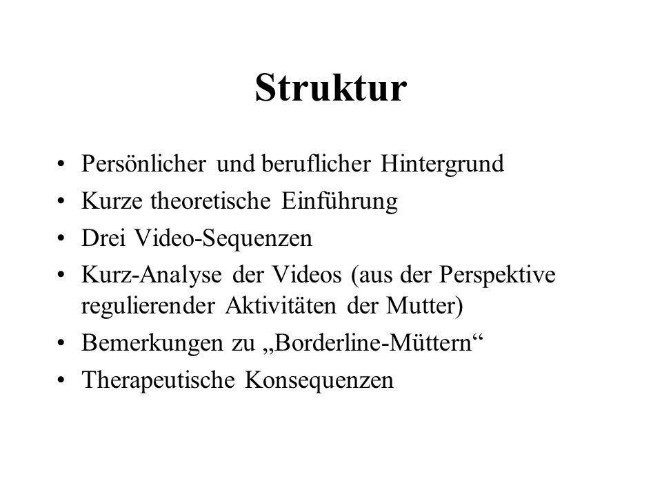 Struktur Persönlicher und beruflicher Hintergrund Kurze theoretische Einführung Drei Video-Sequenzen Kurz-Analyse der Videos (aus der Perspektive regulierender Aktivitäten der Mutter) Bemerkungen zu Borderline-Müttern Therapeutische Konsequenzen
