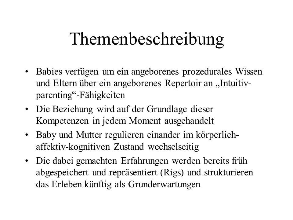 Themenbeschreibung Babies verfügen um ein angeborenes prozedurales Wissen und Eltern über ein angeborenes Repertoir an Intuitiv- parenting-Fähigkeiten Die Beziehung wird auf der Grundlage dieser Kompetenzen in jedem Moment ausgehandelt Baby und Mutter regulieren einander im körperlich- affektiv-kognitiven Zustand wechselseitig Die dabei gemachten Erfahrungen werden bereits früh abgespeichert und repräsentiert (Rigs) und strukturieren das Erleben künftig als Grunderwartungen