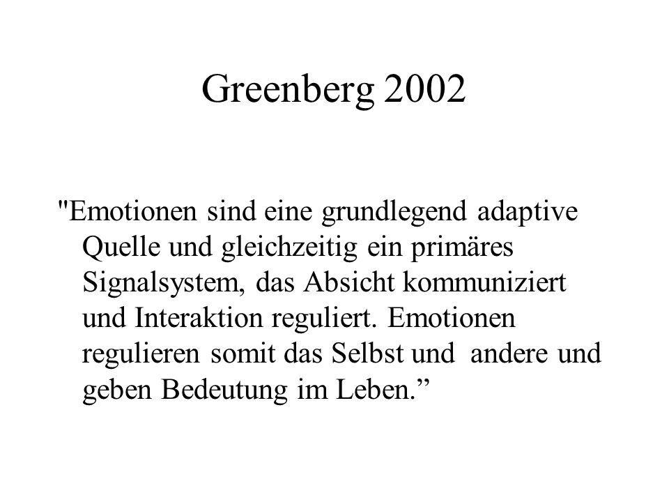 Greenberg 2002 Emotionen sind eine grundlegend adaptive Quelle und gleichzeitig ein primäres Signalsystem, das Absicht kommuniziert und Interaktion reguliert.